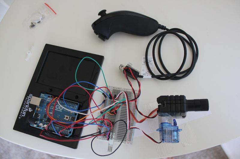 Arduino wiichuck steered laser pointer maks surguy s