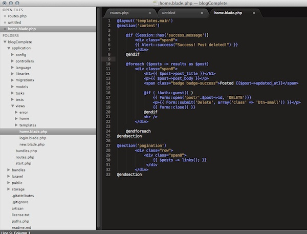 sublimetext laravel