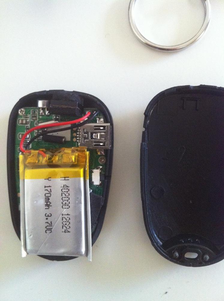 Keychain camera taken apart