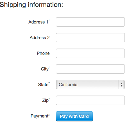 Stripe checkout form