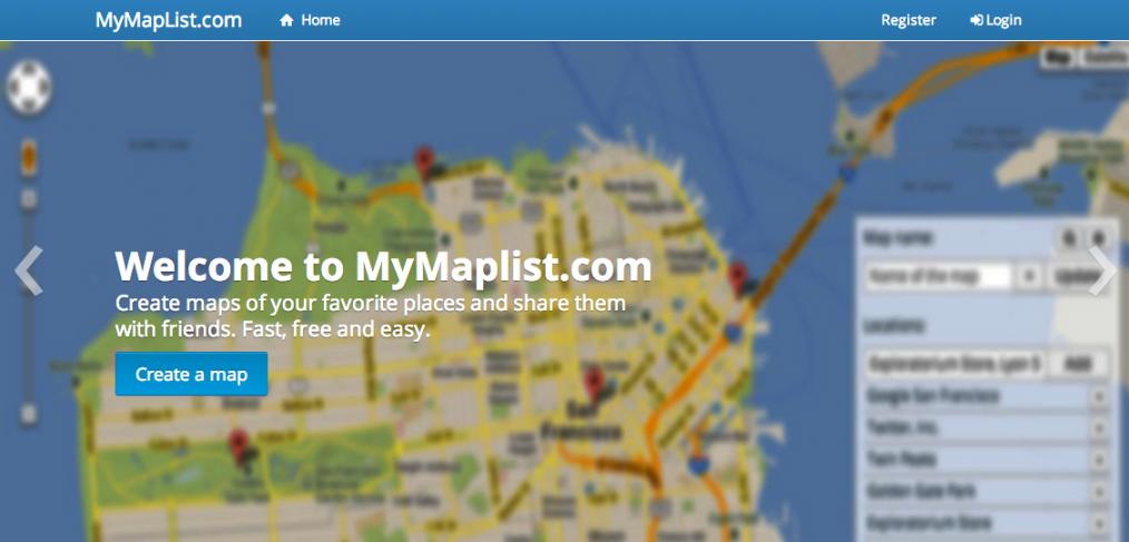 mymaplist.com mapping website
