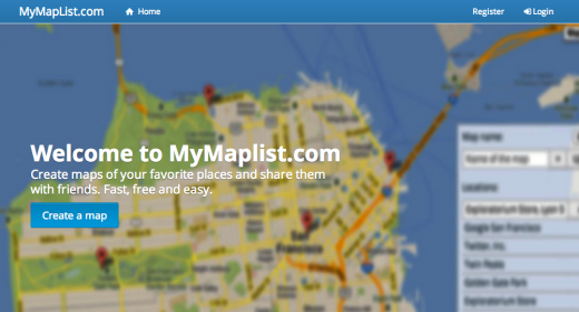 mymaplist.com mapping website