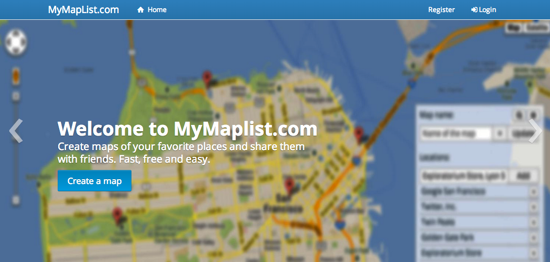 Mymaplist.com screenshot