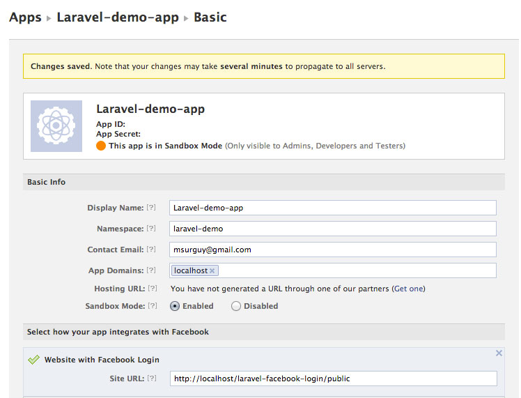 Facebook laravel app settings