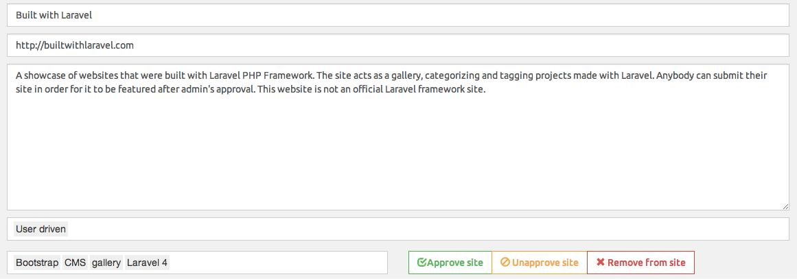 Builtwithlaravel CMS – adding websites