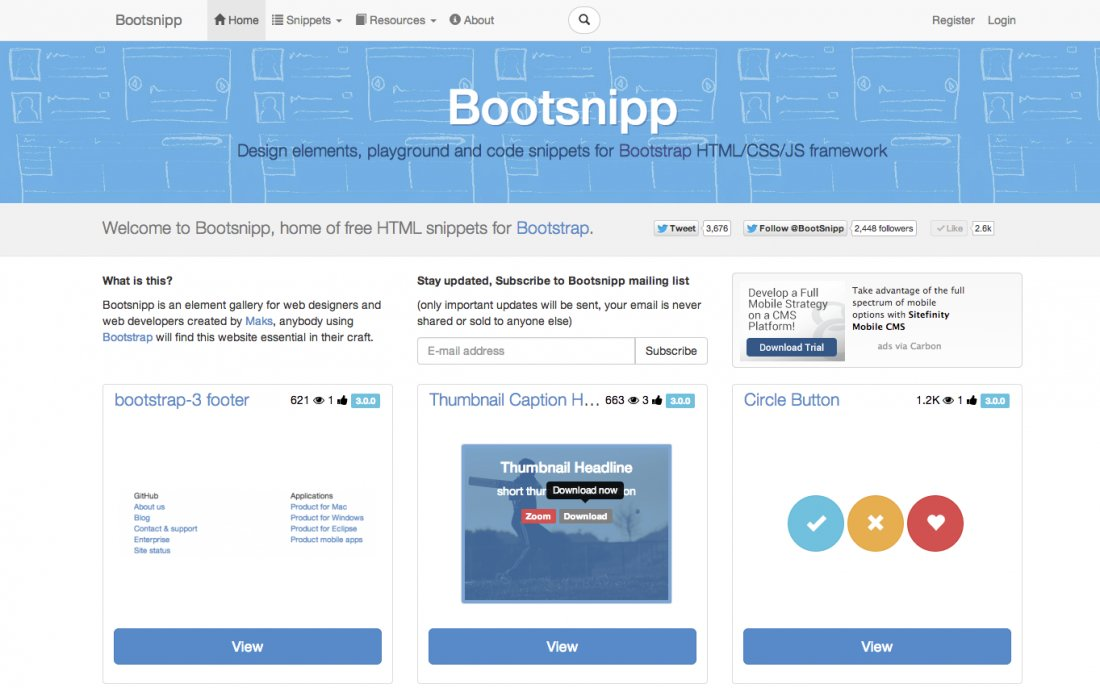 Boootsnipp made with laravel