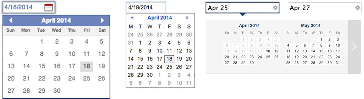 Calendar Date Picker Date Pickers Used on Popular