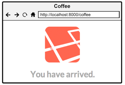 "Figure 3.4 The default root route of the application has been replaced with ""coffee"""