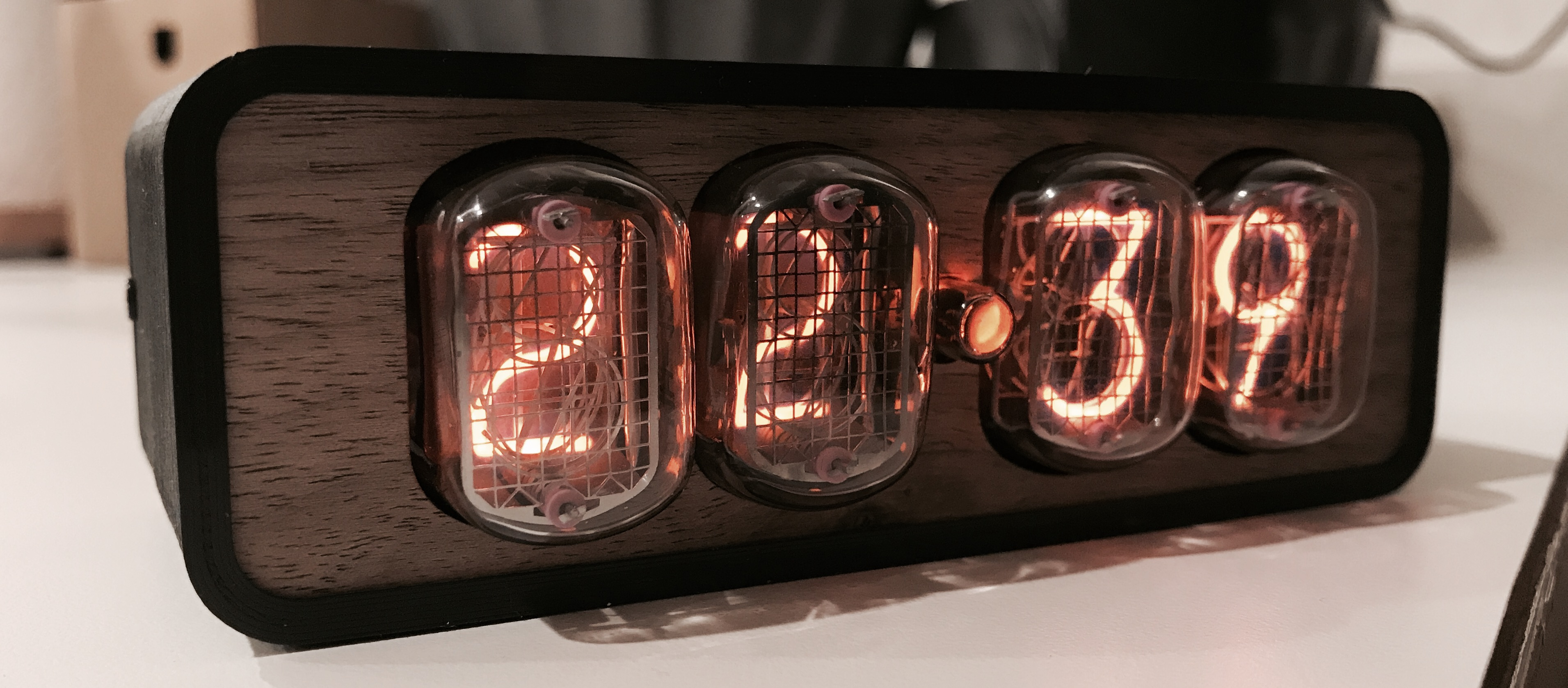 Nixie clock close up