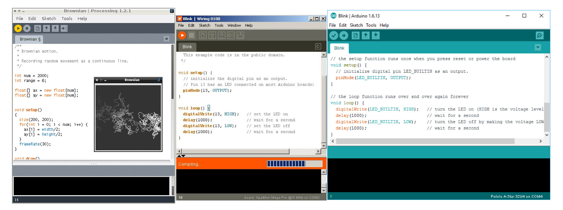 Screenshots of Integrated Development Environments of Processing, Wiring and Arduino